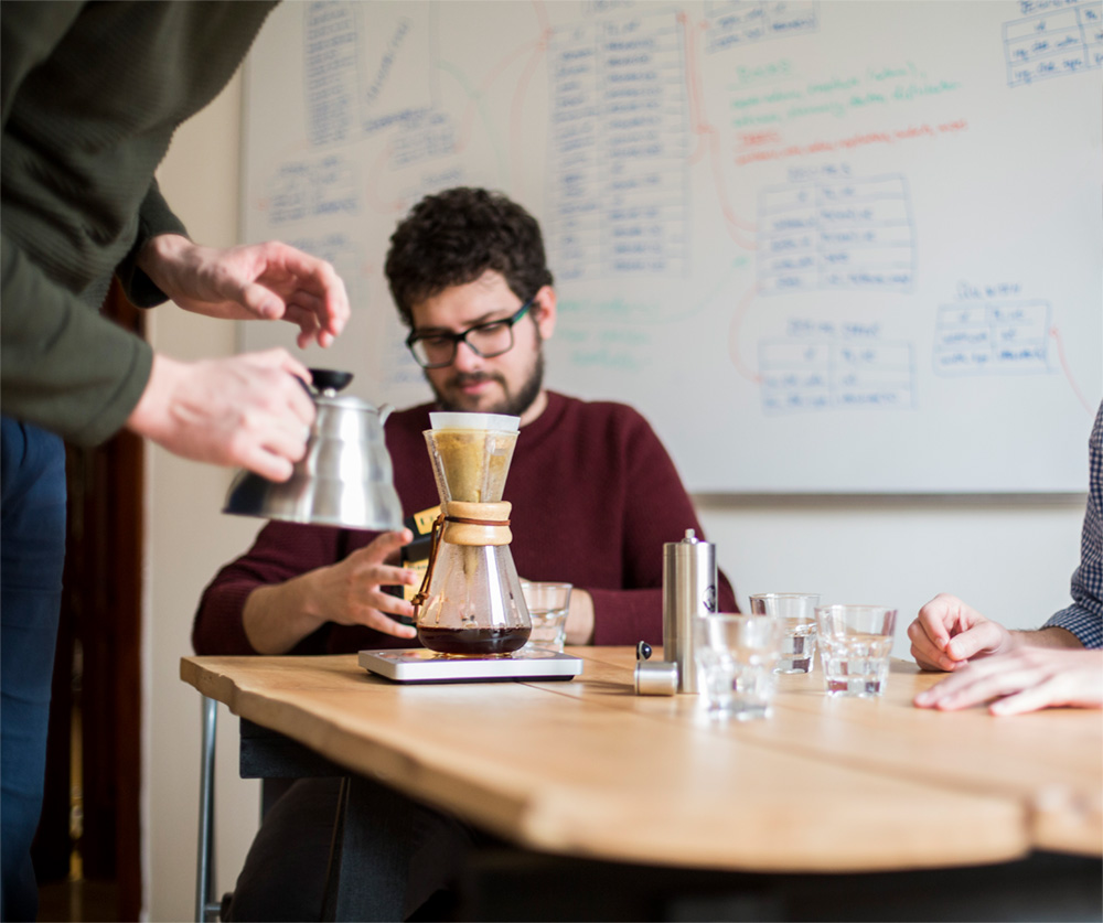We can brew you afine cup of speciality grade coffee onour next appoitment.