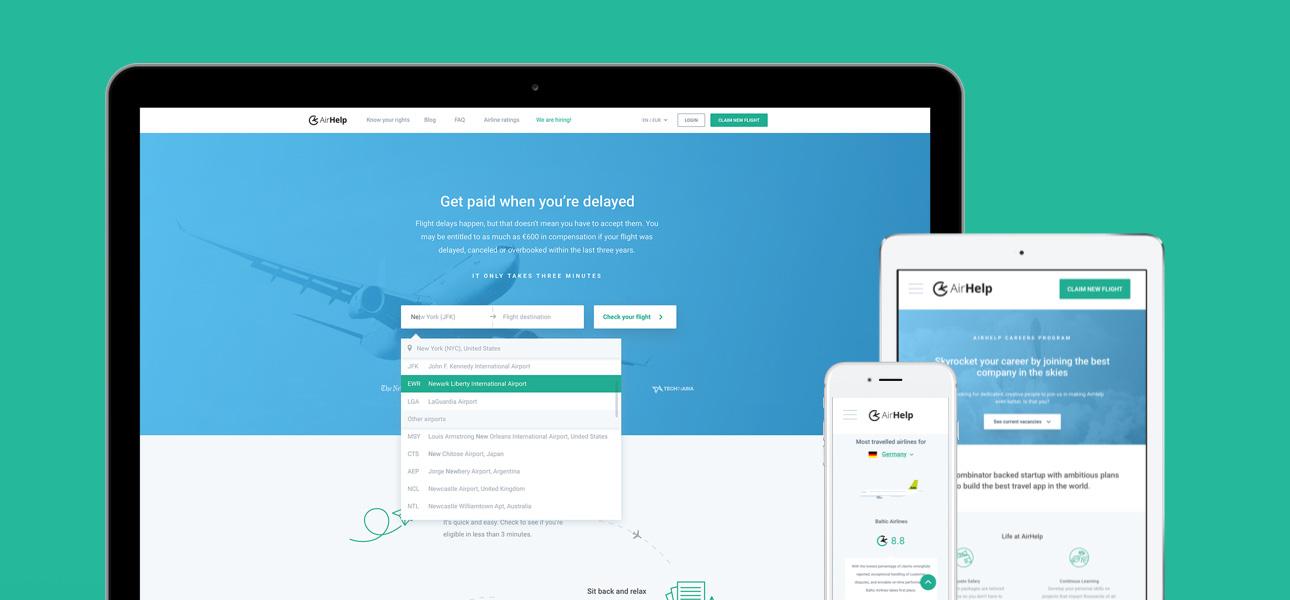 AirHelp's redesigned website