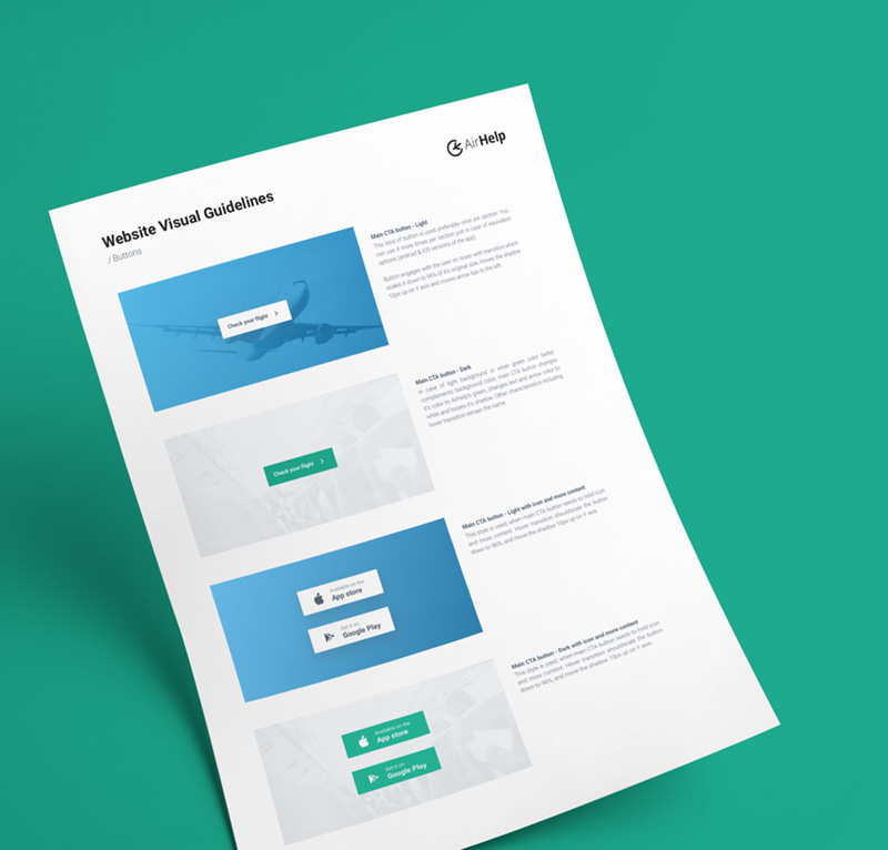 AirHelp website design guidelines