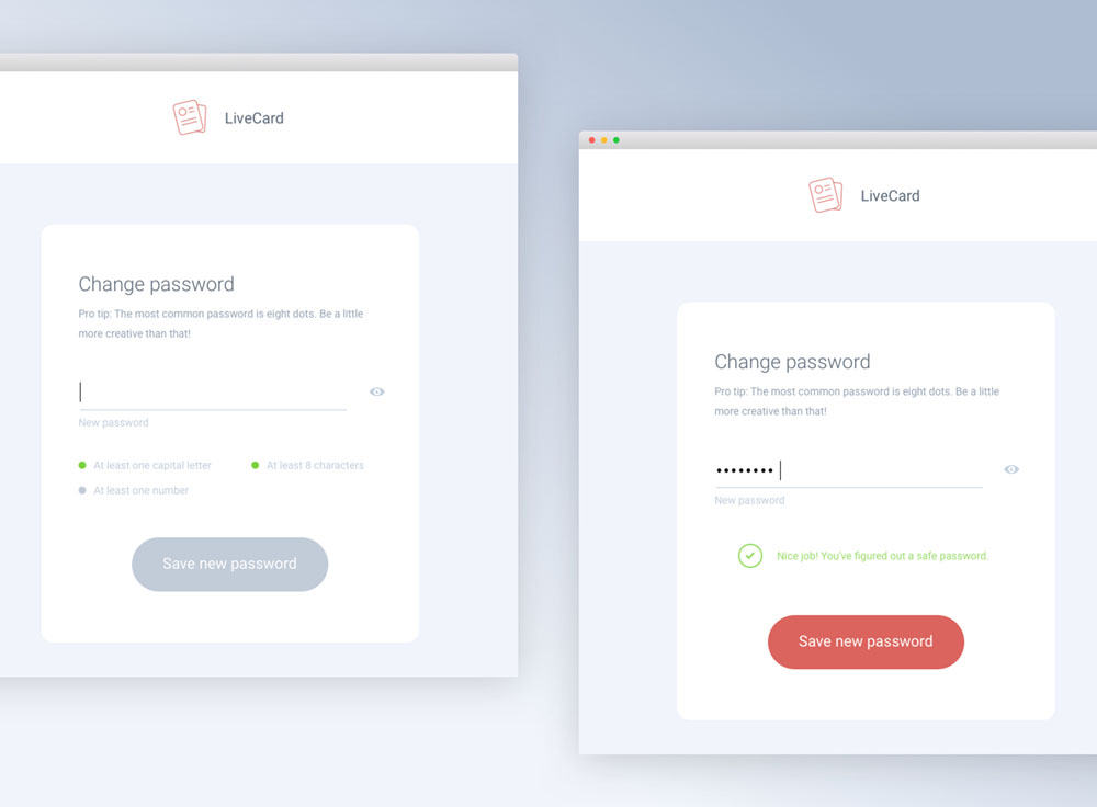 Part of Livecards password recovery process we designed.