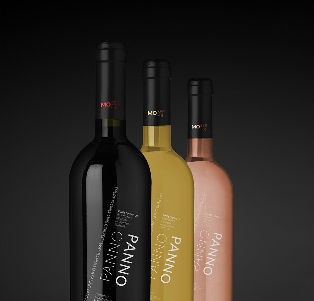 Bottle designs of all red, white and pink wines